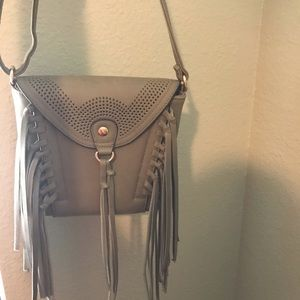Grey fringe purse